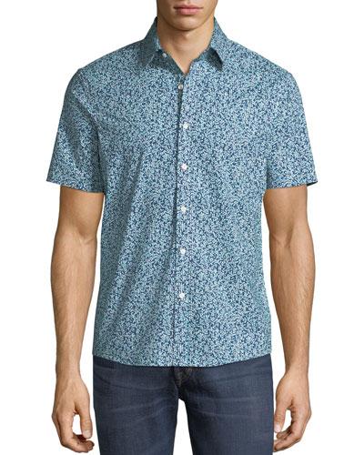 Men's Trim Fit Short-Sleeve Button-Front Shirt
