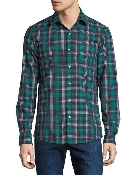 Men's Plaid Stretch Cotton Button-Down Shirt