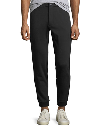 Men's Jogger Sweatpants w/ Leather Trim