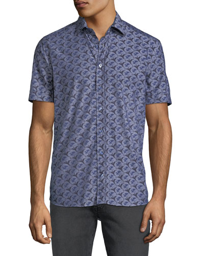 Men's Dragon-Print Poplin Button-Down Shirt