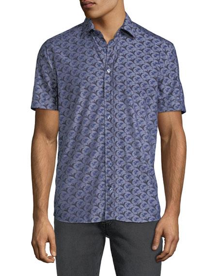 Men's Dragon-Print Poplin Button-Down Shirt