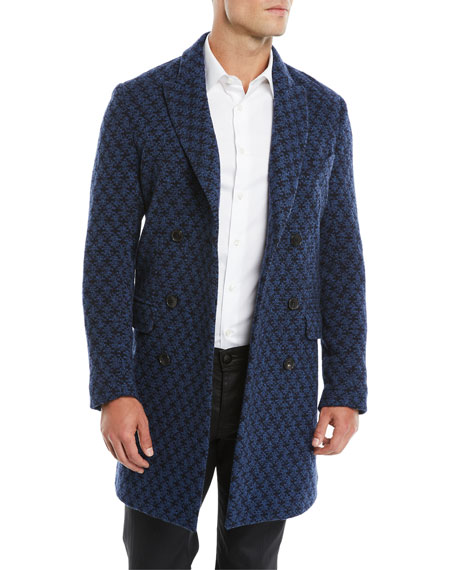 Etro Men's Double-Breasted Jacquard Knit Coat w/ Patchwork