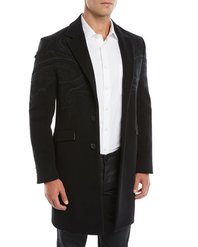 Men's Tonal Paisley Wool-Blend Overcoat