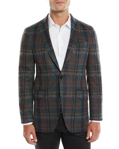 Melange Plaid Sport Coat