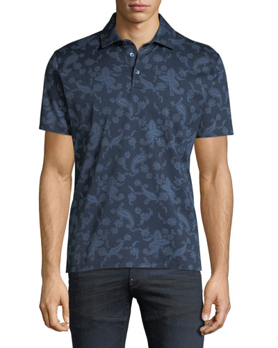 Men's Paisley-Print Polo Shirt