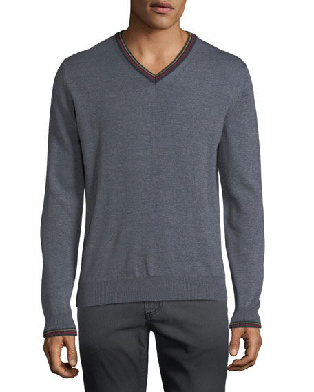 Men's Collegiate V-Neck Wool Sweater