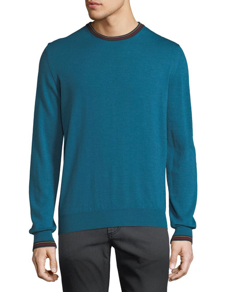 Etro Men's Collegiate Crewneck Wool Sweater