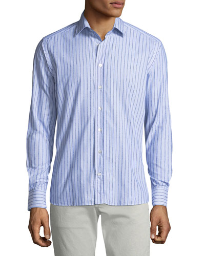 Men's Chenille Striped Sport Shirt