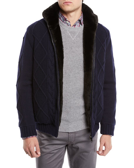 Il Borgo for Neiman Marcus Fur-Lined Cashmere/Wool Fisherman