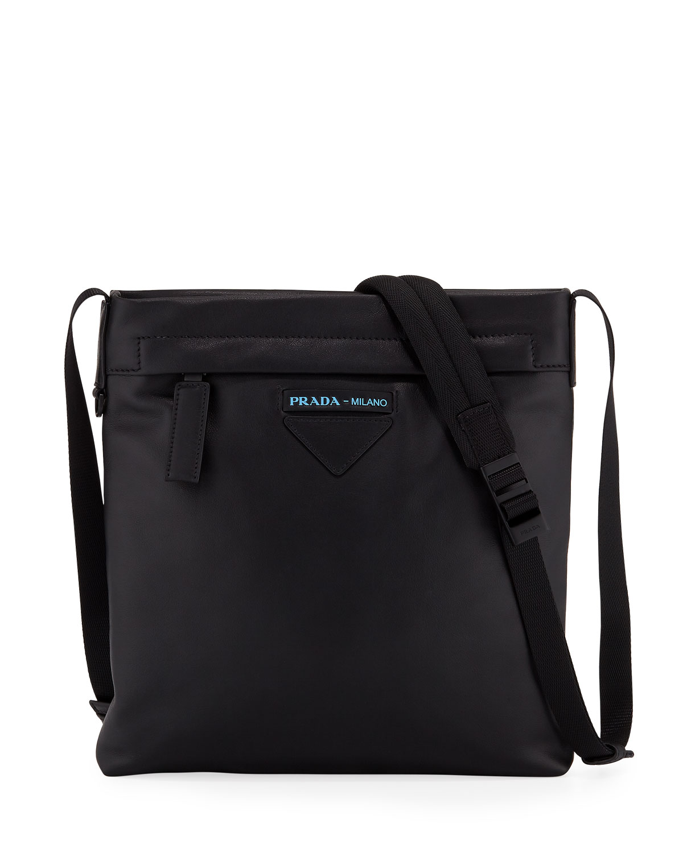 23af66640528 Prada Men's Large Smooth Leather Crossbody Bag | Neiman Marcus