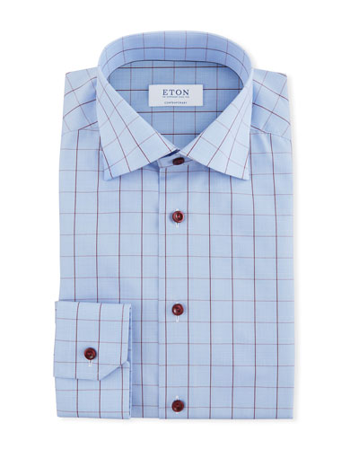 Men's Windowpane Contemporary-Fit Dress Shirt