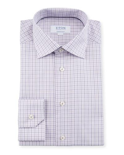 Men's Plaid Contemporary-Fit Dress Shirt