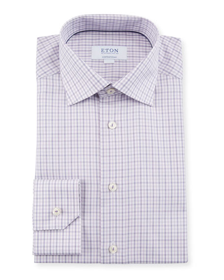 Eton Men's Plaid Contemporary-Fit Dress Shirt