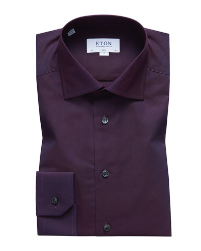 Men's Slim-Fit Solid Egyptian Cotton Dress Shirt