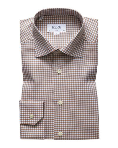 Men's Slim Fit Check Dress Shirt