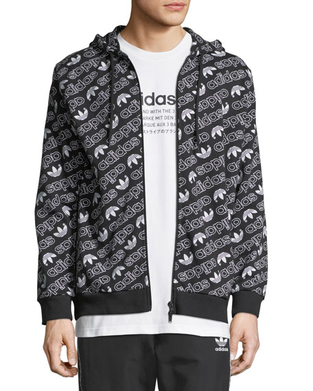 Adidas Men's Zip-Front Graphic Logo Hoodie
