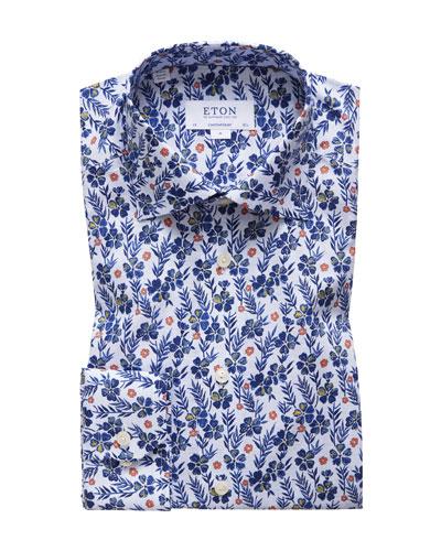 Men's Floral-Print Contemporary-Fit Dress Shirt
