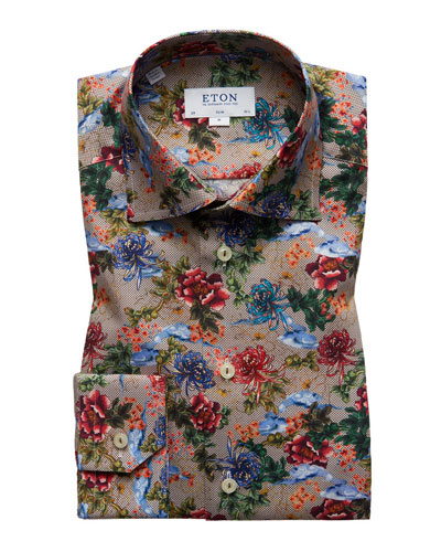 Men's Slim-Fit  Floral-Print Dress Shirt