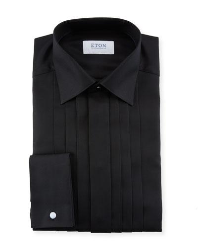 Men's Slim-Fit Pleated-Bib Formal Dress Shirt