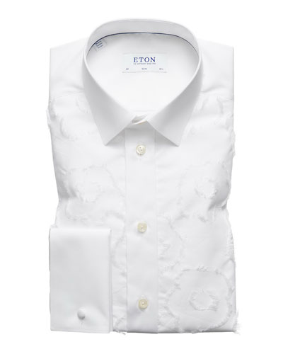 Men's Slim-Fit Floral-Pattern Dress Shirt