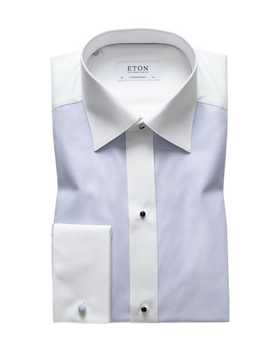 Men's Bib-Front Contemporary-Fit Formal Dress Shirt
