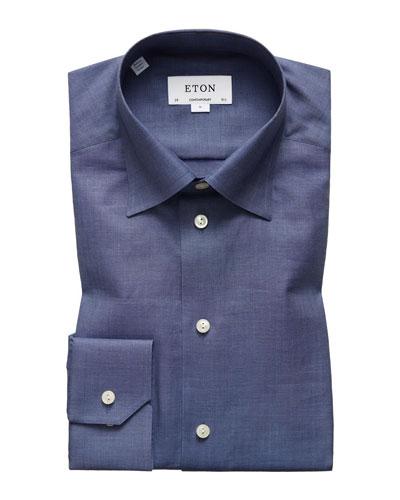 Men's Contemporary Fit Chambray Herringbone Dress Shirt