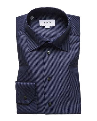 Men's Contemporary-Fit Diagonal Stripe Dress Shirt