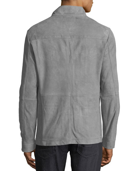 Men's Button-Front Suede Field Jacket
