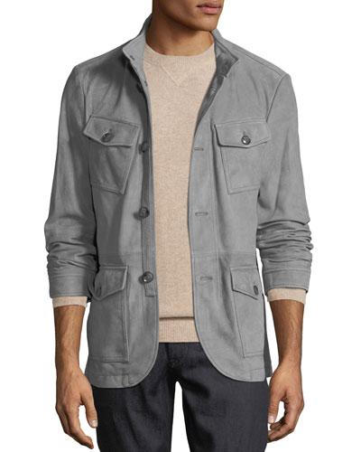 Men's Button-Front Suede Field Jacket