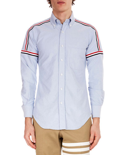Men's Button-Down Point-Collar Oxford Shirt w/ Elastic Stripe Details