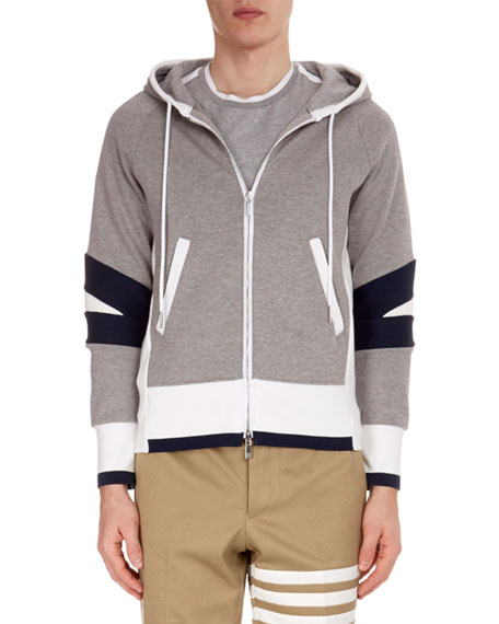 THOM BROWNE Men'S Articulated Zip-Front Hoodie, Light Gray
