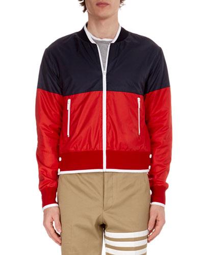 Men's Bi-Color Zip-Front Bomber Jacket