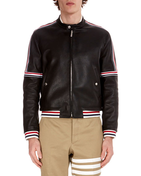 Men's Buffalo Leather Cropped Jacket