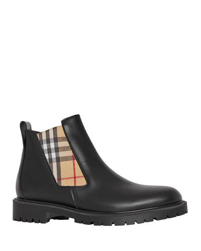 Men's Leather Chelsea Boots with Archival Vintage Check Side Panels