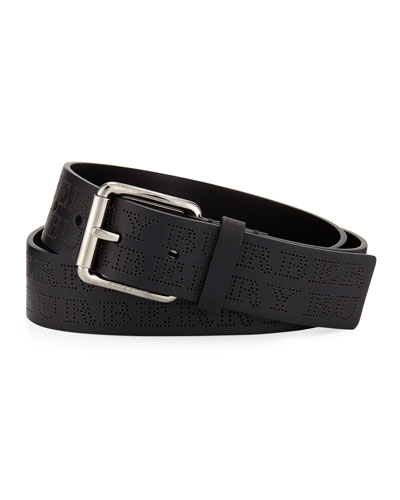 Men's Perforated Logo Leather Belt
