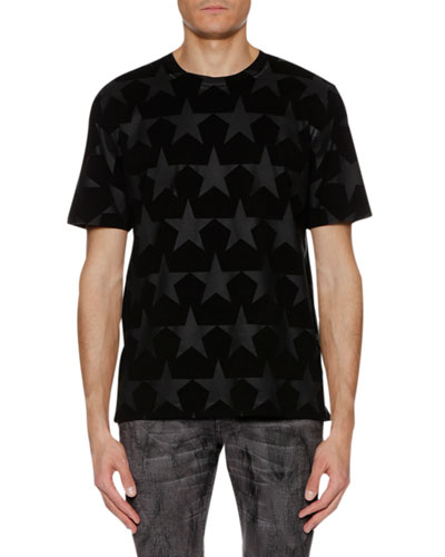 Men's Tonal-Stars Crewneck Short-Sleeve Cotton T-Shirt