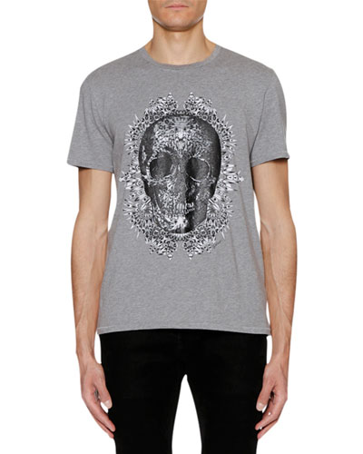 Men's Skull-Graphic Crewneck Short-Sleeve Cotton T-Shirt