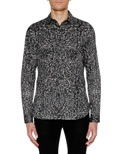 Men's Animal-Print Sport Shirt