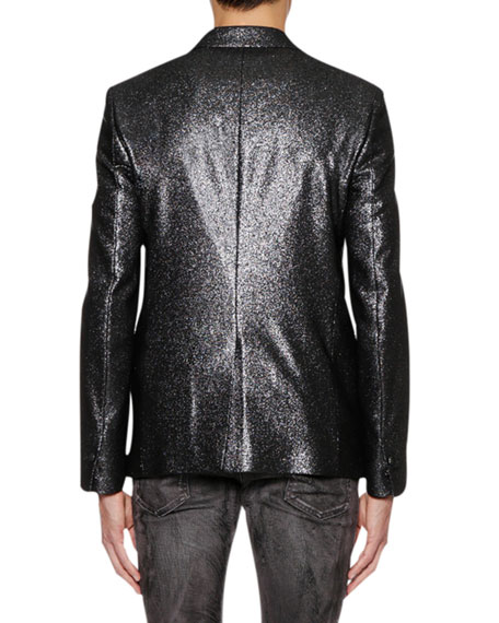Men's One-Button Metallic Jacket