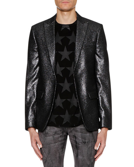 JUST CAVALLI Men'S One-Button Metallic Jacket in Grey