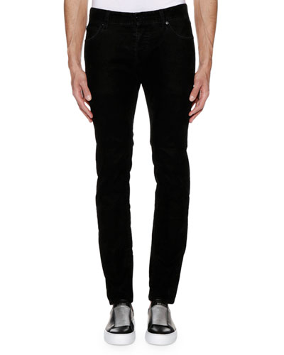 Men's Solid Corduroy Straight-Leg Pants