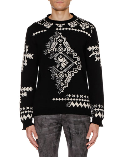 Men's Medallion-Intarsia Crewneck Wool-Cashmere Sweater