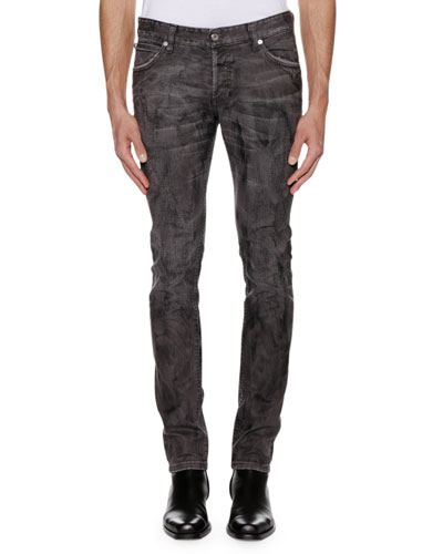 Men's Distressed Gray-Wash Jeans