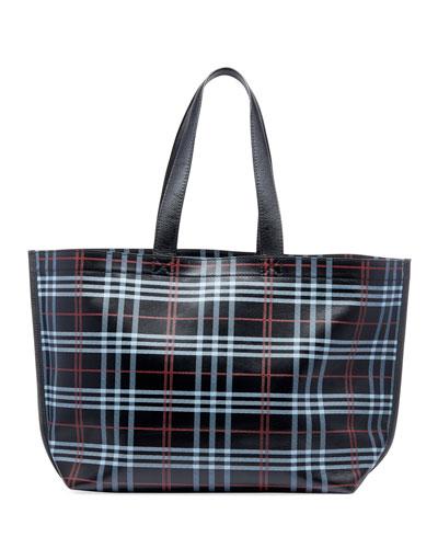 Men's Plaid Leather Supermarket Tote Bag