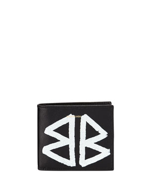 Balenciaga Men s Bazar Graffiti Bi-Fold Leather Wallet f265470b189b5