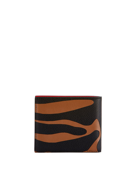 Men's Leather Animal-Print Wallet w/ Money Clip