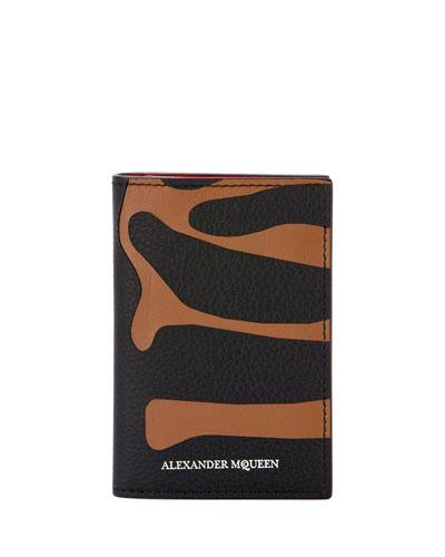 Men's Animal-Print Leather Pocket Organizer Wallet