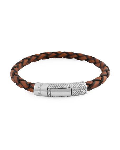 Men's Ermenegildo Zegna Braided Leather Silver Bracelet, Light Brown