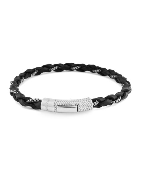 Men's Ermenegildo Zegna Braided Leather Silver Bracelet, Black