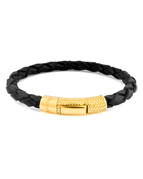 Men's Ermenegildo Zegna Braided Leather Gold-Plated Bracelet, Black